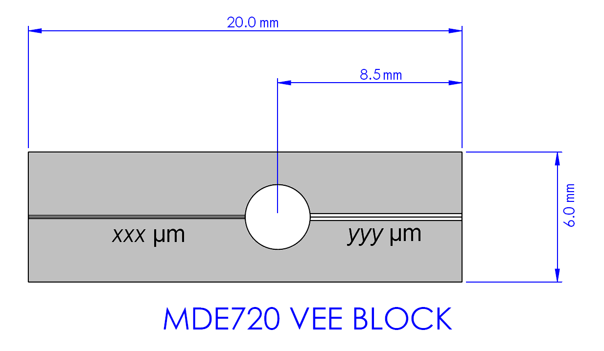 Drawing of MDE720 with fiber dimensions